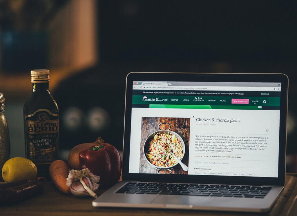 Image of a recipe on a laptop