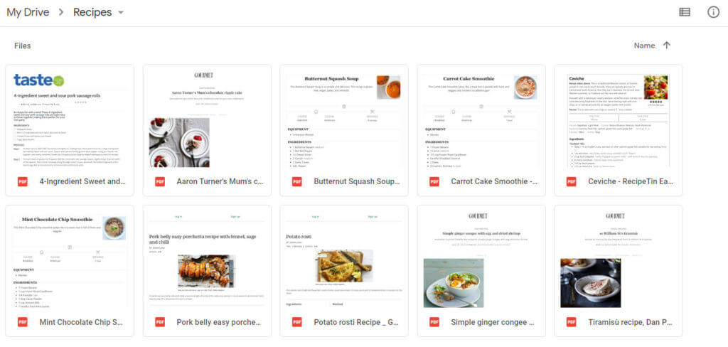 Image of recipes stored on Google Drive